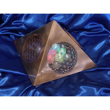 Pyramid with Flowers of Life - COPPER