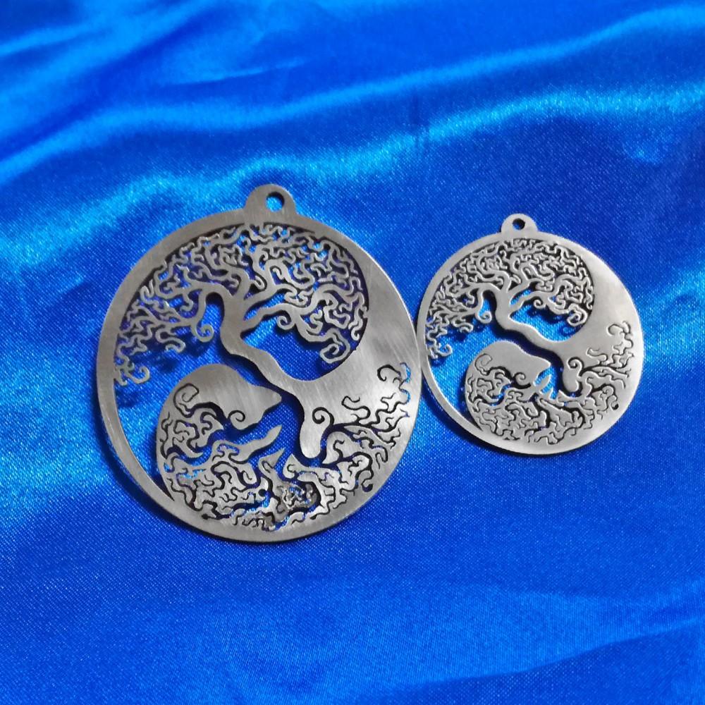 Ciondolo Yin Yang con Alberi della Vita